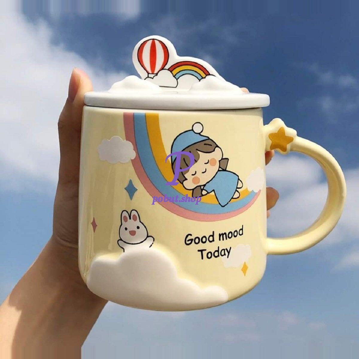 Чашка керамічна Дівчинка з веселкою 350мл