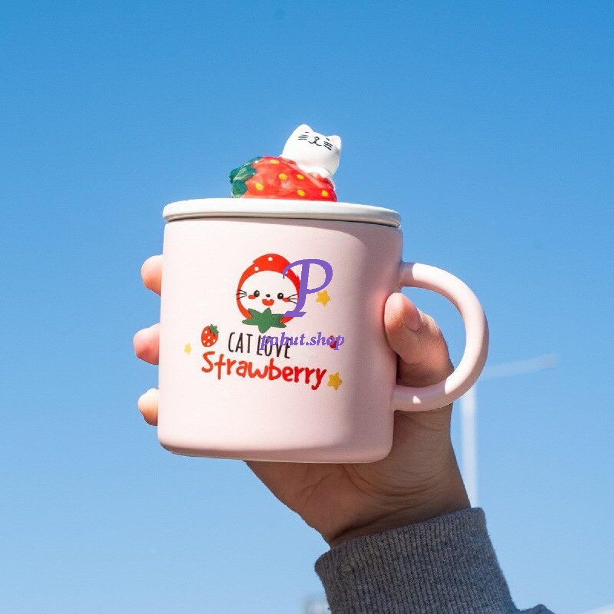 Чашка керамічна Кошеня з полуницею 380 мл, рожева