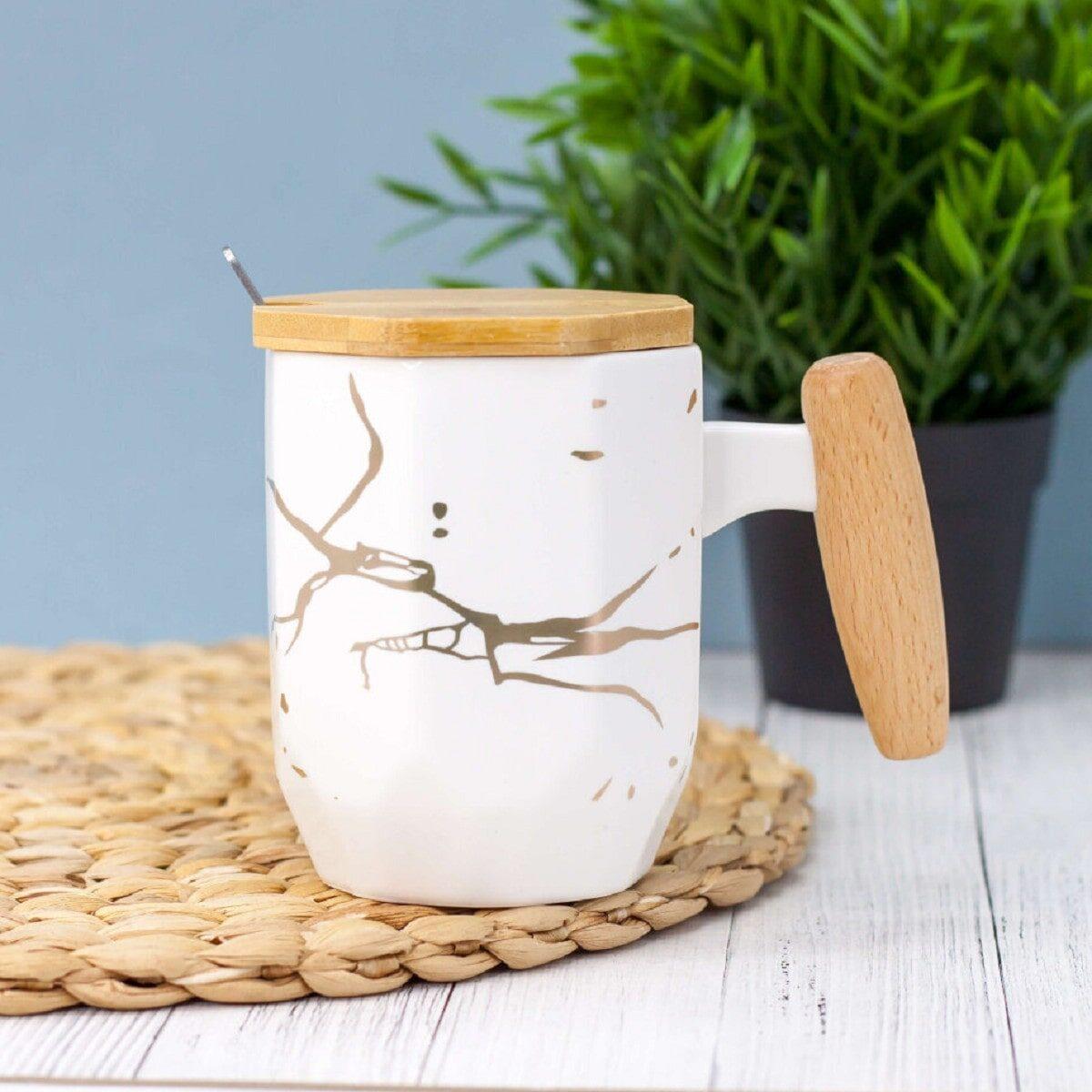 Чашка керамічна Мармур дерев'яною кришкою та ручкою 380 мл, біла