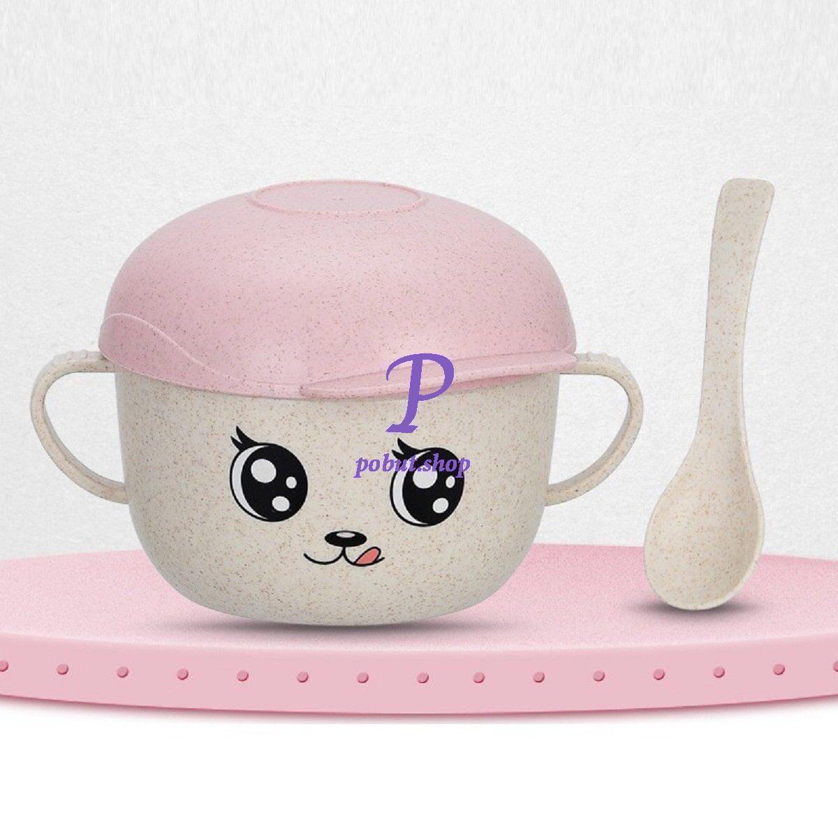 Дитяча еко чашка з кришкою 450 мл, рожева