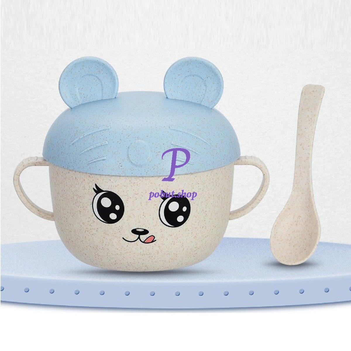 Дитяча еко чашка з кришкою-вушками 450 мл, блакитна