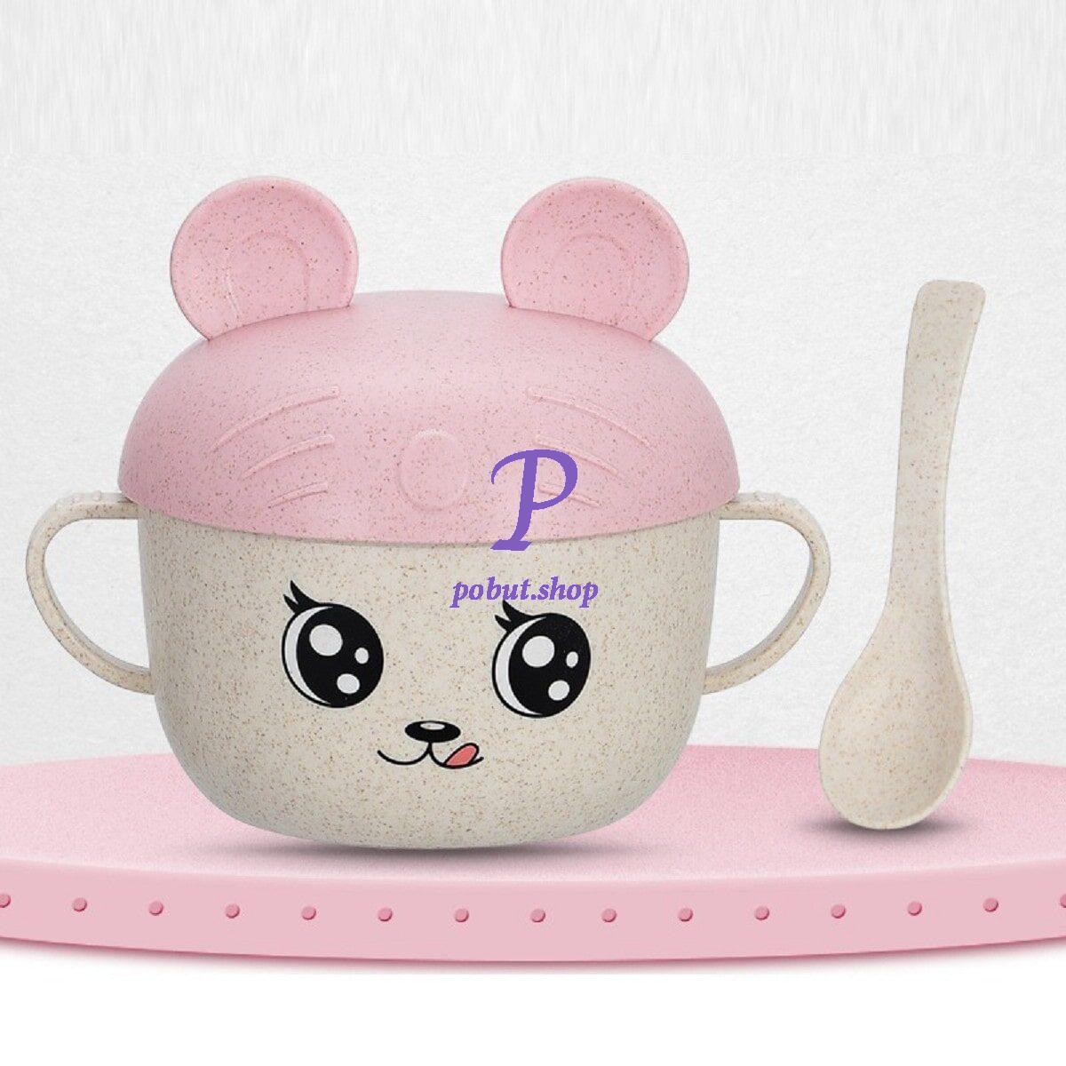 Дитяча еко чашка з кришкою-вушками 450 мл, рожева