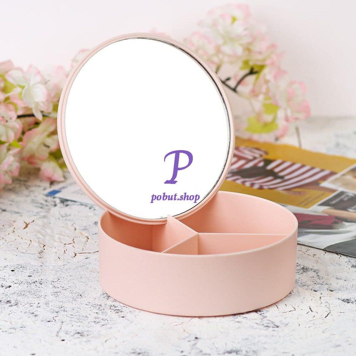 Дзеркало кругле з органайзером рожеве