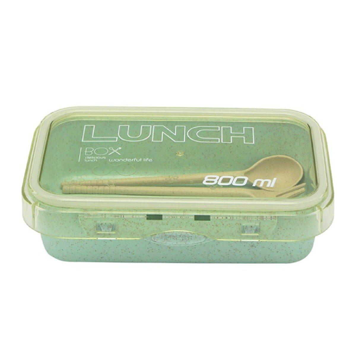 Еко Ланчбокс з приборами однорівневий 800мл, зелений
