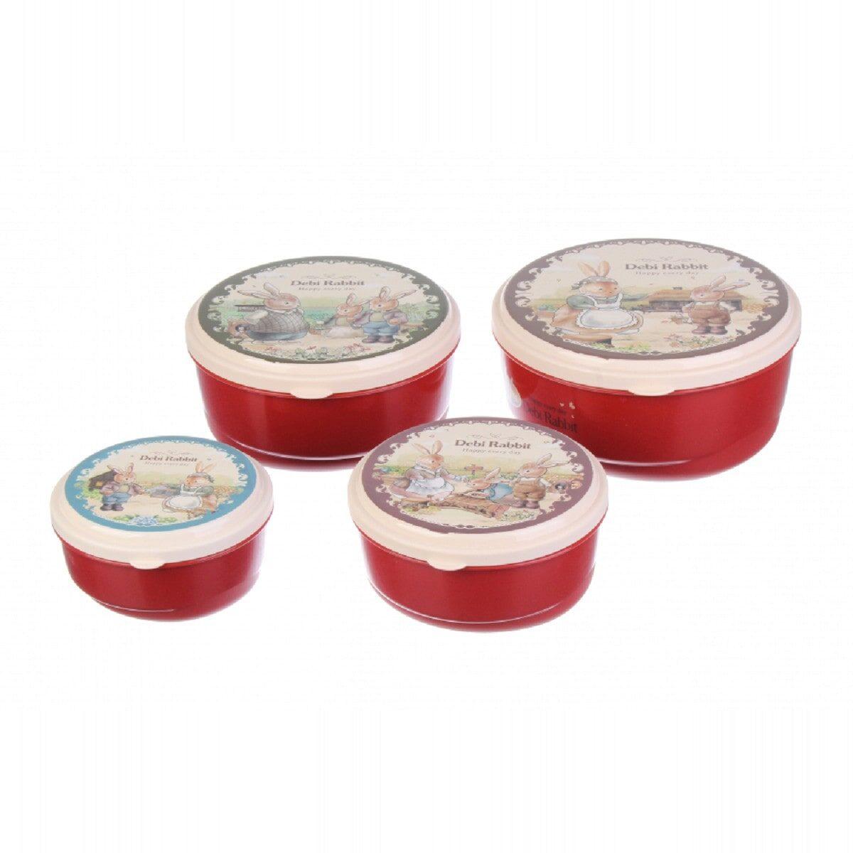 Комплект круглих боксів Debi Rabbit (4 шт.), червоний