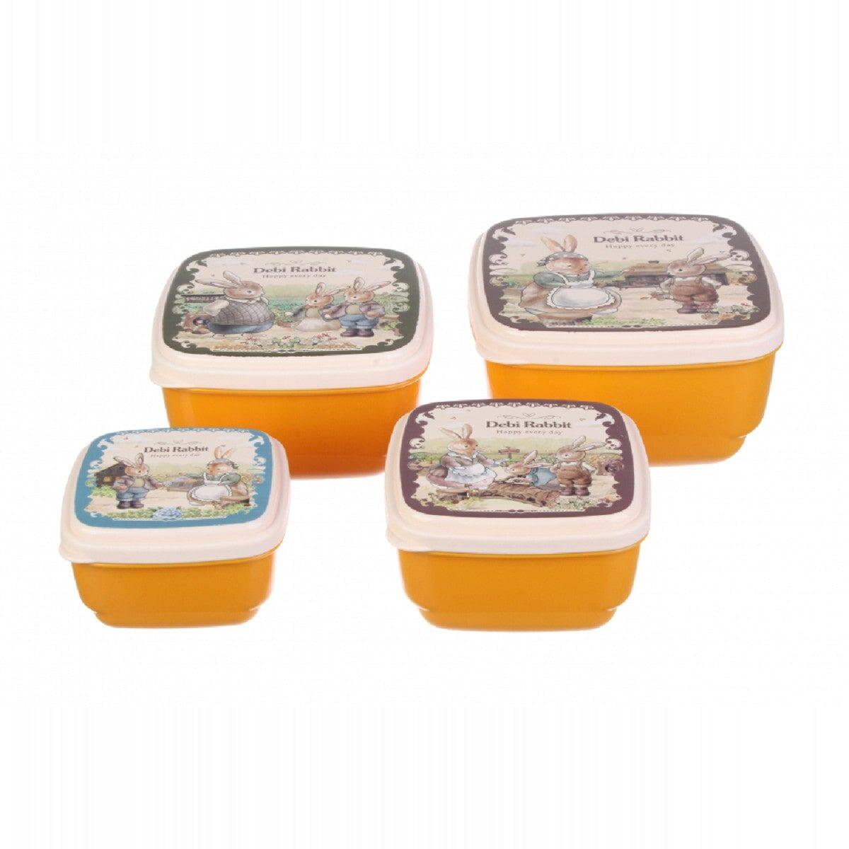 Комплект квадратних боксів Debi Rabbit (4 шт.), помаранчевий