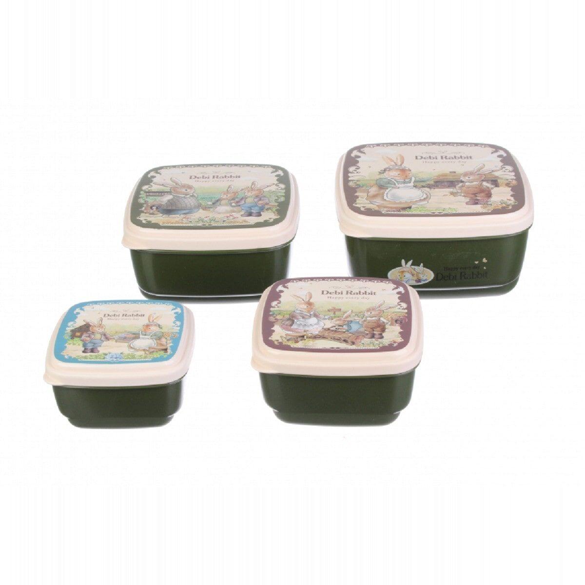 Комплект квадратних боксів Debi Rabbit (4 шт.), зелений