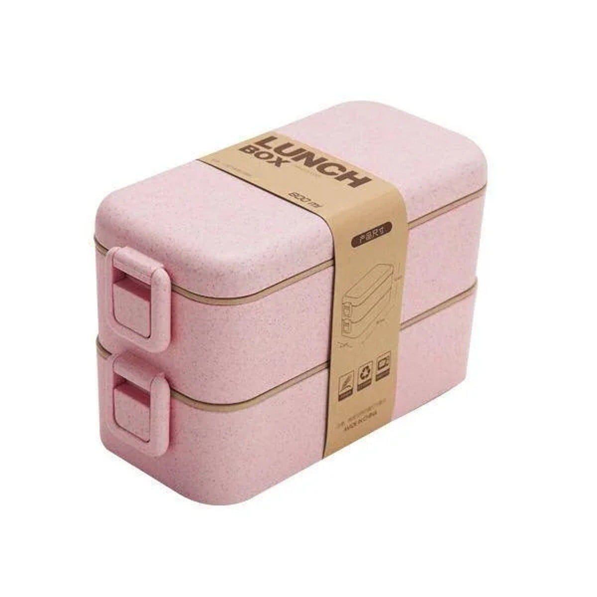 Ланч-бокс eco на 2 яруси з приборами 800 мл, рожевий