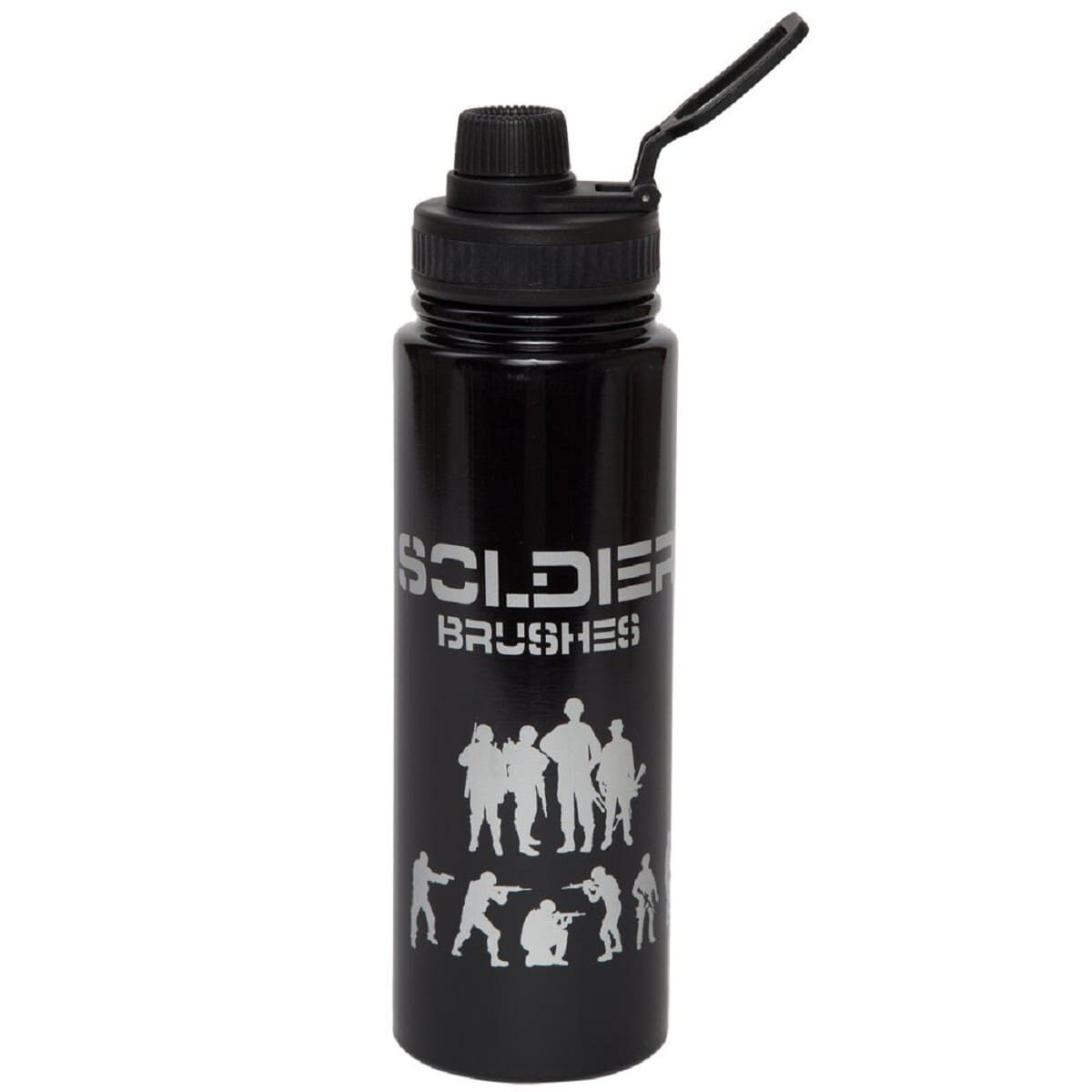 Металева пляшка для напоїв Солдати 800 мл, чорна