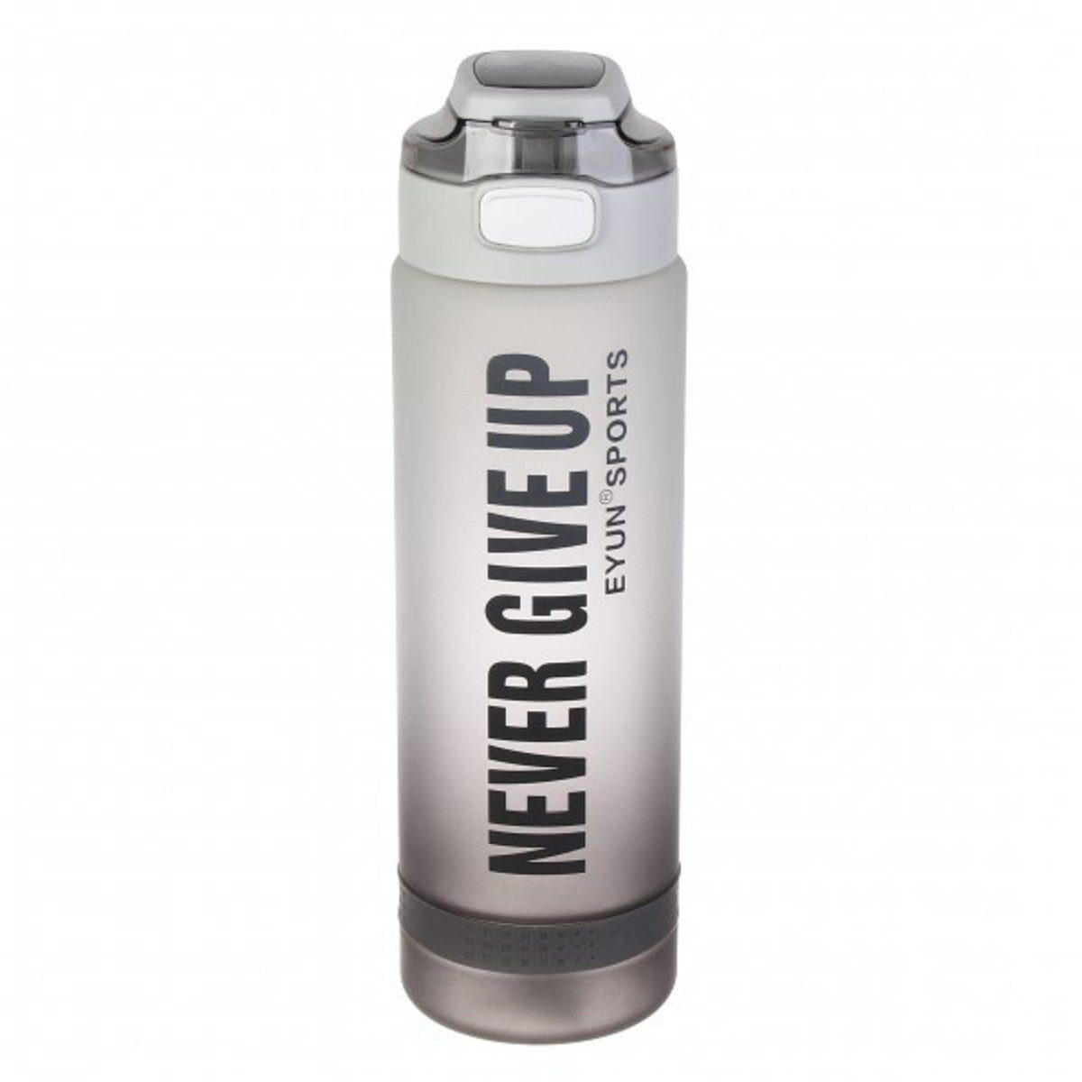 Пляшка для води Never Give Up 1 литр, градієнт сіро-чорна
