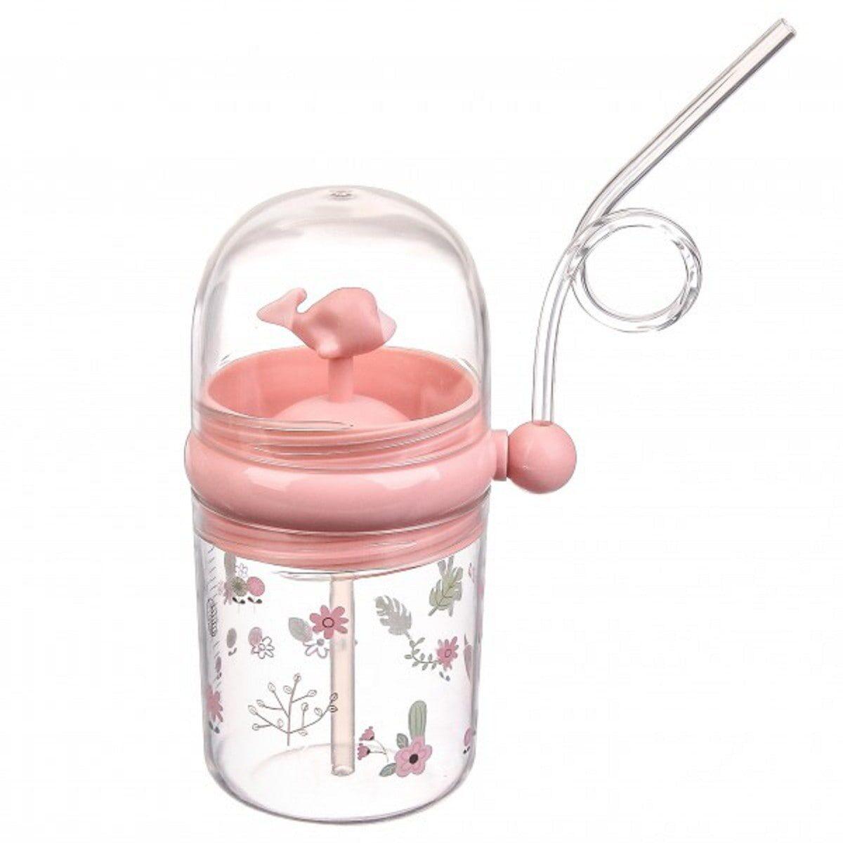 Пляшка дитяча пластикова з фонтанчиком 260мл, рожева