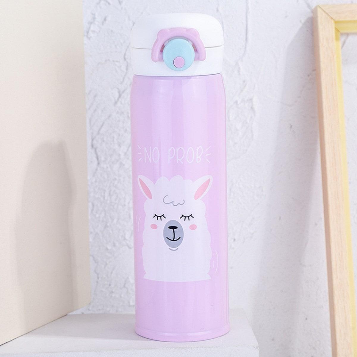 Термопляшка Лама 500мл, рожева
