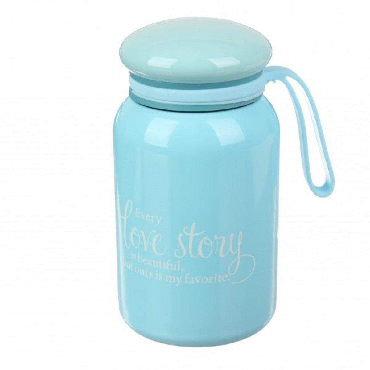 Термос Love story з силіконовим ремінцем 380 мл, блакитний