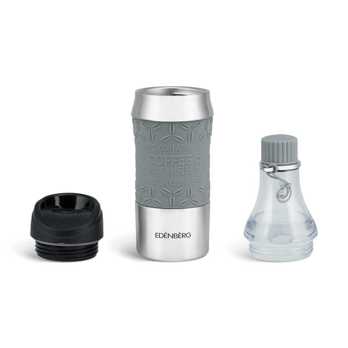 Термостакан та термопляшка - сталевий трансформер 2в1 380-400 мл, сірий